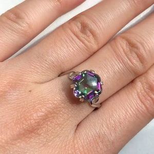 Jewelry - 🍒NEW🍒 HEXAGON MYSTIC TOPAZ STERLING SILVER RING